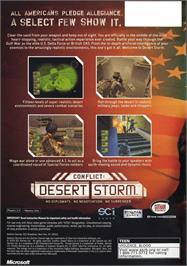 Box back cover for Conflict: Desert Storm on the Microsoft Xbox.