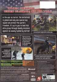 Box back cover for Conflict: Global Terror on the Microsoft Xbox.