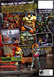 Box back cover for Conker: Live & Reloaded on the Microsoft Xbox.