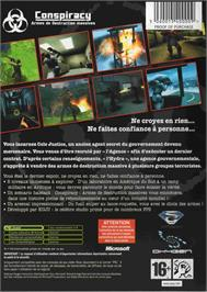 Box back cover for Conspiracy: Weapons of Mass Destruction on the Microsoft Xbox.