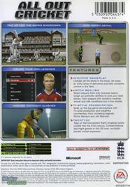 Box back cover for Cricket 2005 on the Microsoft Xbox.