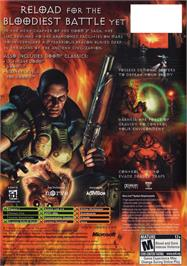 Box back cover for DOOM³: Resurrection of Evil on the Microsoft Xbox.