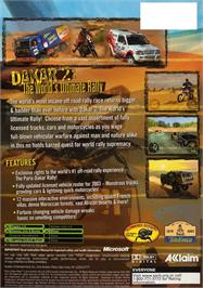 Box back cover for Dakar 2: The World's Ultimate Rally on the Microsoft Xbox.
