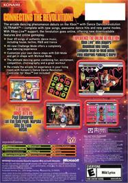 Box back cover for Dance Dance Revolution Ultramix on the Microsoft Xbox.