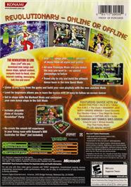 Box back cover for Dance Dance Revolution Ultramix 3 on the Microsoft Xbox.