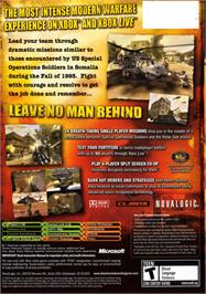 Box back cover for Delta Force: Black Hawk Down on the Microsoft Xbox.