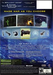 Box back cover for Deus Ex: Invisible War on the Microsoft Xbox.