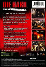 Box back cover for Die Hard: Vendetta on the Microsoft Xbox.