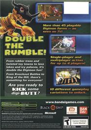 Box back cover for Digimon Rumble Arena 2 on the Microsoft Xbox.