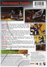 Box back cover for ESPN College Hoops 2K5 on the Microsoft Xbox.