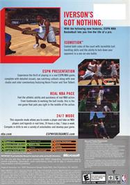Box back cover for ESPN NBA Basketball on the Microsoft Xbox.