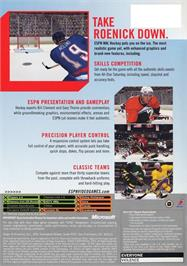 Box back cover for ESPN NHL Hockey on the Microsoft Xbox.