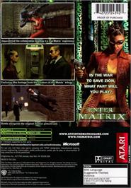 Box back cover for Enter the Matrix on the Microsoft Xbox.