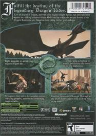 Box back cover for Eragon on the Microsoft Xbox.