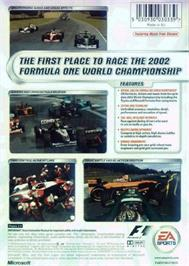 Box back cover for F1 2002 on the Microsoft Xbox.