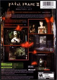 Box back cover for Fatal Frame II: Crimson Butterfly on the Microsoft Xbox.