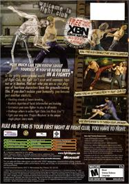 Box back cover for Fight Club on the Microsoft Xbox.