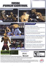 Box back cover for Fight Night 2004 on the Microsoft Xbox.