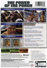 Box back cover for Fight Night Round 2 on the Microsoft Xbox.