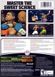 Box back cover for Fight Night Round 3 on the Microsoft Xbox.
