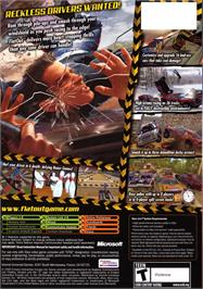 Box back cover for FlatOut on the Microsoft Xbox.
