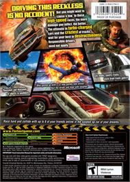 Box back cover for FlatOut 2 on the Microsoft Xbox.