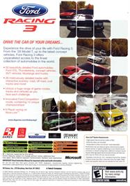 Box back cover for Ford Racing 3 on the Microsoft Xbox.