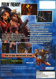 Box back cover for Freaky Flyers on the Microsoft Xbox.