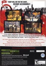Box back cover for Freedom Fighters on the Microsoft Xbox.