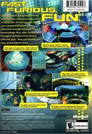 Box back cover for Fuzion Frenzy on the Microsoft Xbox.