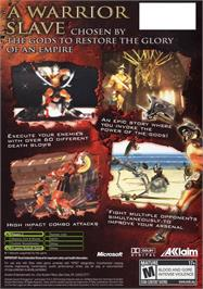 Box back cover for Gladiator: Sword of Vengeance on the Microsoft Xbox.