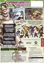 Box back cover for Godzilla: Destroy All Monsters Melee on the Microsoft Xbox.