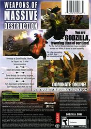 Box back cover for Godzilla: Save the Earth on the Microsoft Xbox.