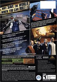 Box back cover for GoldenEye: Rogue Agent on the Microsoft Xbox.