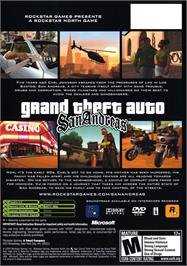 Box back cover for Grand Theft Auto: San Andreas on the Microsoft Xbox.