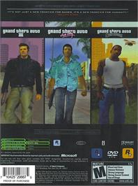Box back cover for Grand Theft Auto: The Trilogy on the Microsoft Xbox.
