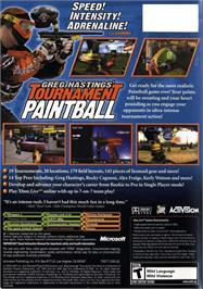 Box back cover for Greg Hastings' Tournament Paintball on the Microsoft Xbox.
