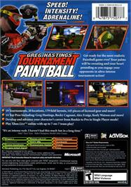 Box back cover for Greg Hastings' Tournament Paintball MAX'D on the Microsoft Xbox.