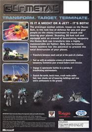 Box back cover for Gun Metal on the Microsoft Xbox.