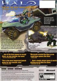 Box back cover for Halo: Combat Evolved on the Microsoft Xbox.
