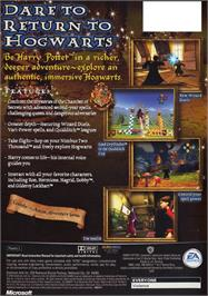 Box back cover for Harry Potter and the Chamber of Secrets on the Microsoft Xbox.
