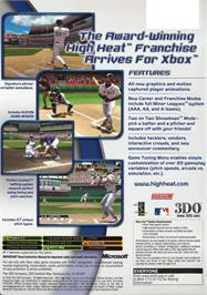 Box back cover for High Heat Major League Baseball 2004 on the Microsoft Xbox.