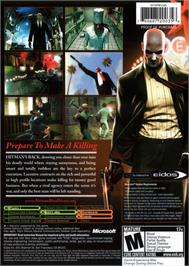 Box back cover for Hitman: Blood Money on the Microsoft Xbox.