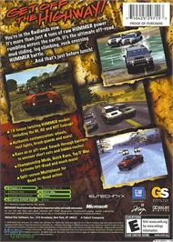 Box back cover for Hummer: Badlands on the Microsoft Xbox.
