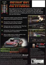 Box back cover for IHRA Drag Racing 2004 on the Microsoft Xbox.