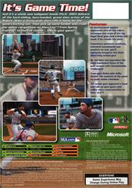 Box back cover for Inside Pitch 2003 on the Microsoft Xbox.
