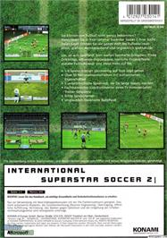 Box back cover for International Superstar Soccer 2 on the Microsoft Xbox.