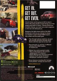 Box back cover for Italian Job on the Microsoft Xbox.