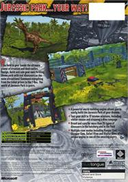 Box back cover for Jurassic Park: Operation Genesis on the Microsoft Xbox.