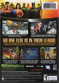 Box back cover for Justice League Heroes on the Microsoft Xbox.